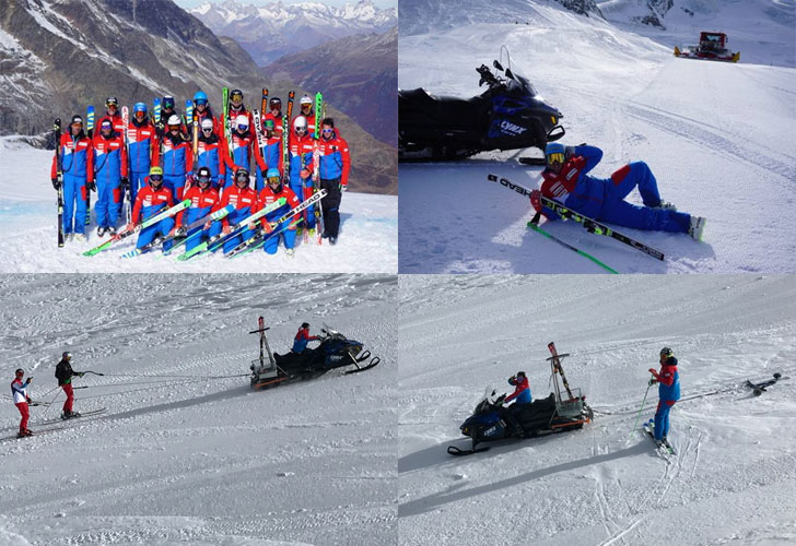Das Skicross Nationalteam beim Training mit dem Lynx Motorschlitten